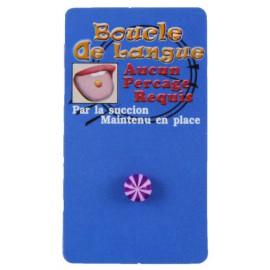 Faux Piercing Langue Rayure Violet Bioflex