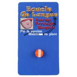 Faux Piercing Langue Orange et Blanc Bioflex