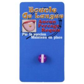 Faux Piercing Langue Violet et Blanc Bioflex