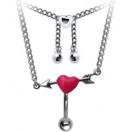 Chaine de Taille Avec Piercing Nombril Coeur Acier