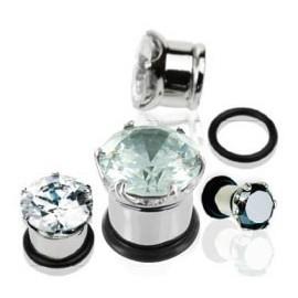 Piercing Plug Acier Cristal