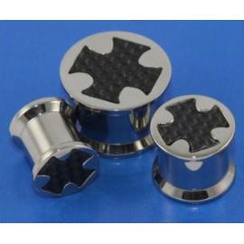 Piercing Plug Acier Croix Carbone