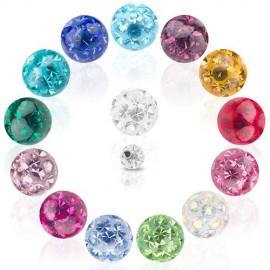Boule Piercing Cristal Recouverte de Résine Taille 1,2mm