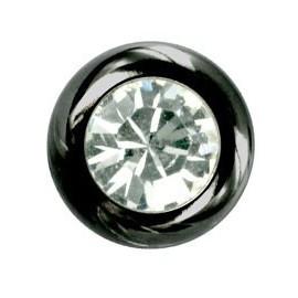 Boule Piercing Noire Anodisé Cristal