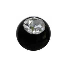 Boule Piercing Bioflex Noire Cristal
