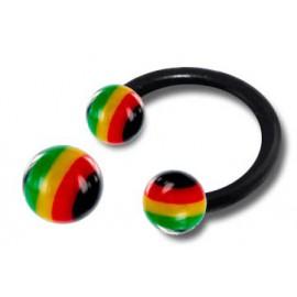 Piercing Fer à Cheval Bioflex Boule Jamaïque Diamètre 8mm