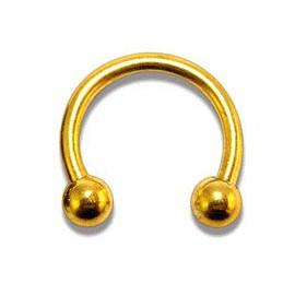 Piercing Fer à Cheval Boule Doré Anodisé Diamètre 8mm