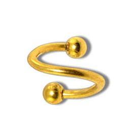 Piercing Spiral Boule Doré Anodisé Diamètre 8mm