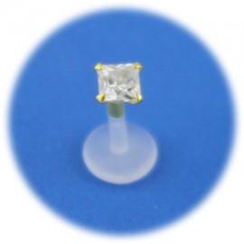 Piercing Tragus Cristal Carré Serti en Plaqué OR