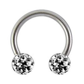 Tragus anneau fer à cheval boule cristal recouverte de résine titane G23
