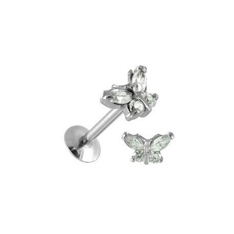 Piercing Tragus Acier Papillon Cristal