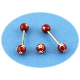 Piercing Langue Titane G23 Boule Rouge Etoilé