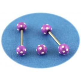 Piercing Langue Titane G23 Boule Violette