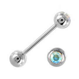 Piercing Langue Acier Boule Cristal