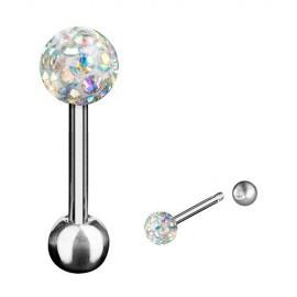 Piercing Langue Acier Boule Cristal Recouverte de Resine