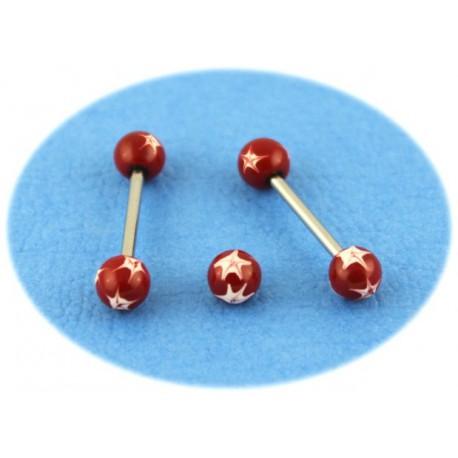 Piercing Langue Acier Boule Rouge Etoilé