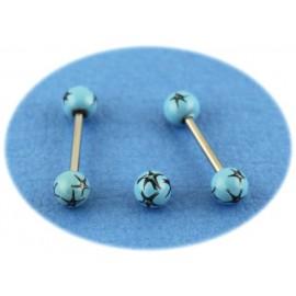 Piercing Langue Acier Boule Bleue Turquoise