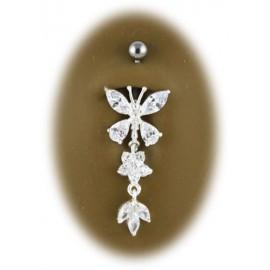 Nombril papillon pendant titane et argent 925