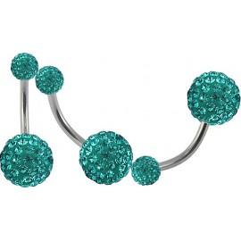 Piercing Nombril Titane G23 Boule Cristal + Boule du Dessus