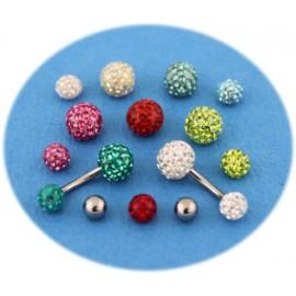 Pack Piercing Nombril Titane G23 Boule Cristal 7 Couleurs + Boule du Deussus
