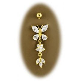 Piercing Nombril Papillon avec Pendant Plaqué OR 18K