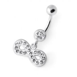 Piercing Nombril Cristal Infinity Argent 925