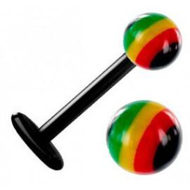 Piercing Labret Boule Couleur Jamaïque Bioflex