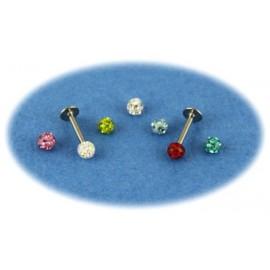 Pack Piercing Labret Titane G23 Boule Cristal 7 Couleurs
