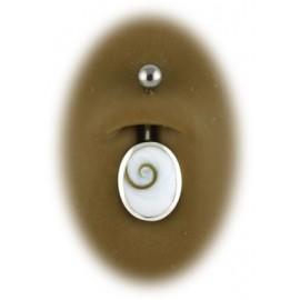 Nombril pierre ovale de sainte lucy argent 925