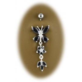 Piercing Nombril Papillon Pendant Argent 925
