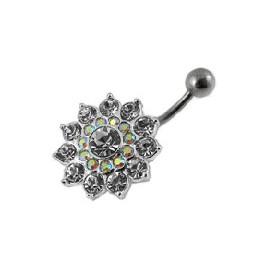Nombril grosse fleur cristal argent 925
