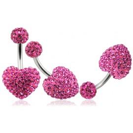 Piercing Nombril Titane G23 Cristal Coeur + Boule du Dessus