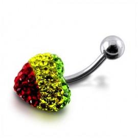 Nombril cristal coeur multi-couleurs