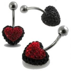 Nombril cristal coeur noir et rouge