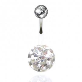 Nombril boule cristal recouverte de resine + boule du dessus