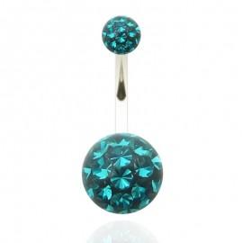 Nombril titane G23 grosse boule cristal recouverte de resine + boule du dessus