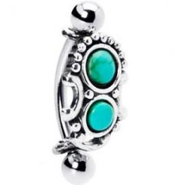 Arcade acier double perle turquoise