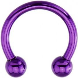 Piercing Labret Anneau Fer à Cheval Boule Violette Titane G23