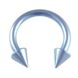 Piercing Labret Anneau Fer à Cheval Pic Bleu Titane G23