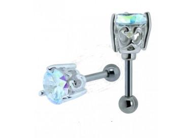 Helix acier cristal rond serti