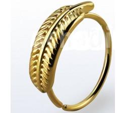 Helix anneau plume doré anodisé