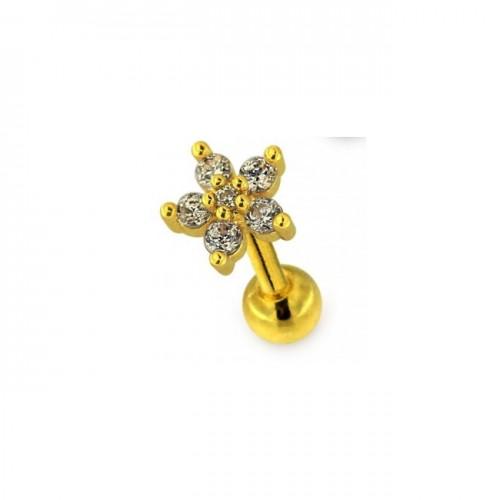 Tragus petite fleur cristal plaqué or