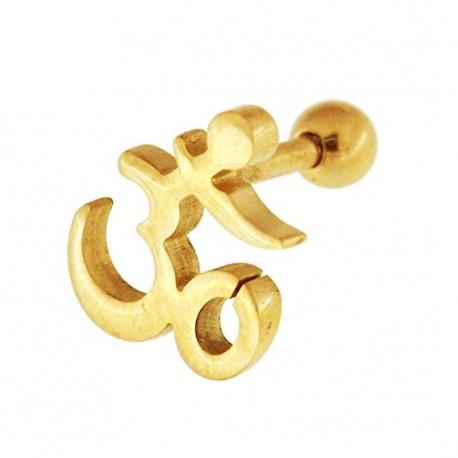 Tragus motif ohm plaqué or